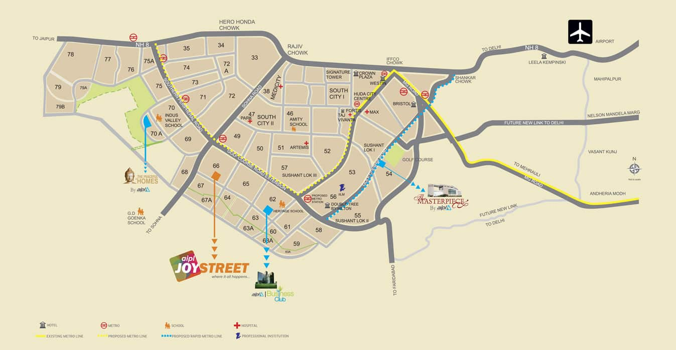 AIPL Joy Street Sector 66 Gurgaon Location Map