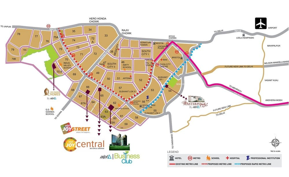 AIPL Joy central sector 65 Gurgaon Location Map
