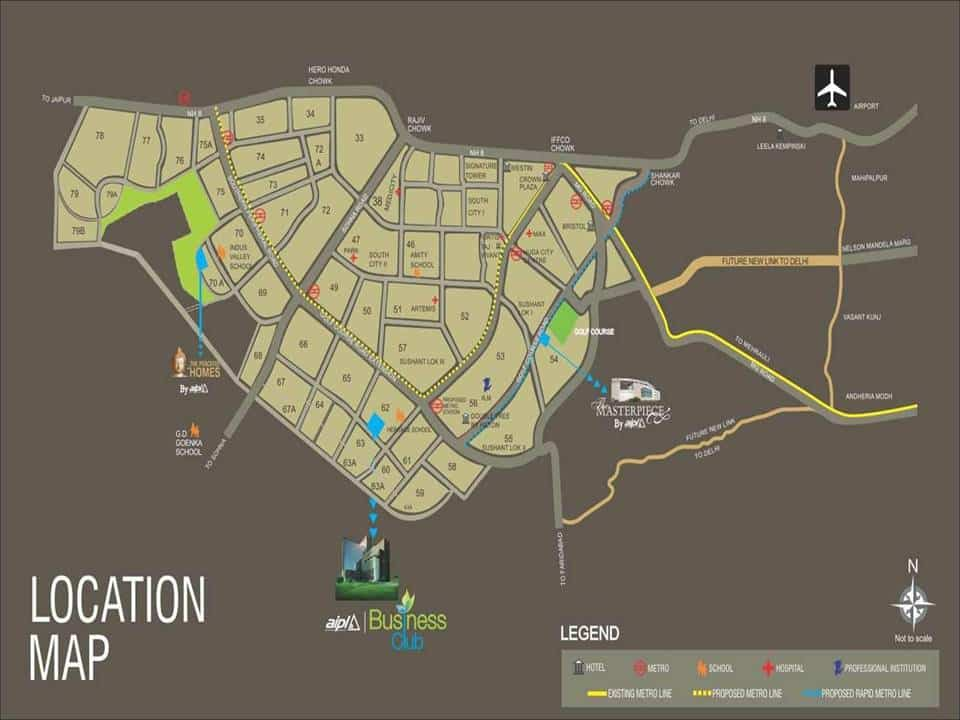Location Map of AIPL Business Club Golf Course Extension Road Gurgaon