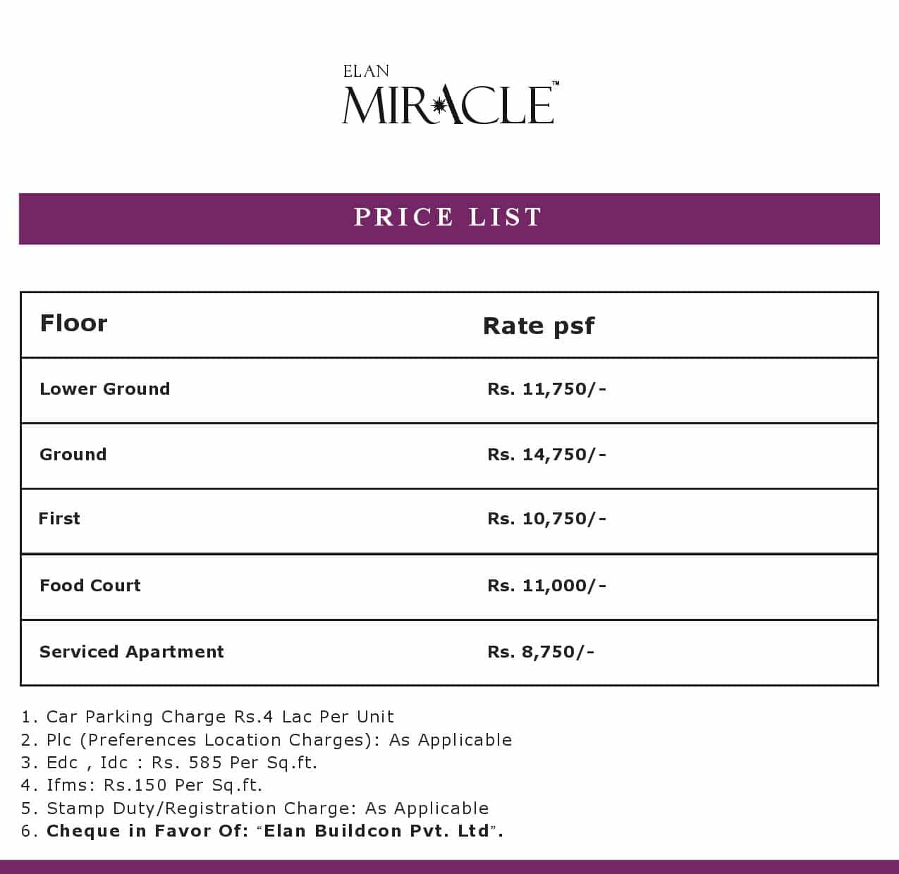 Elan-Miracle Price List