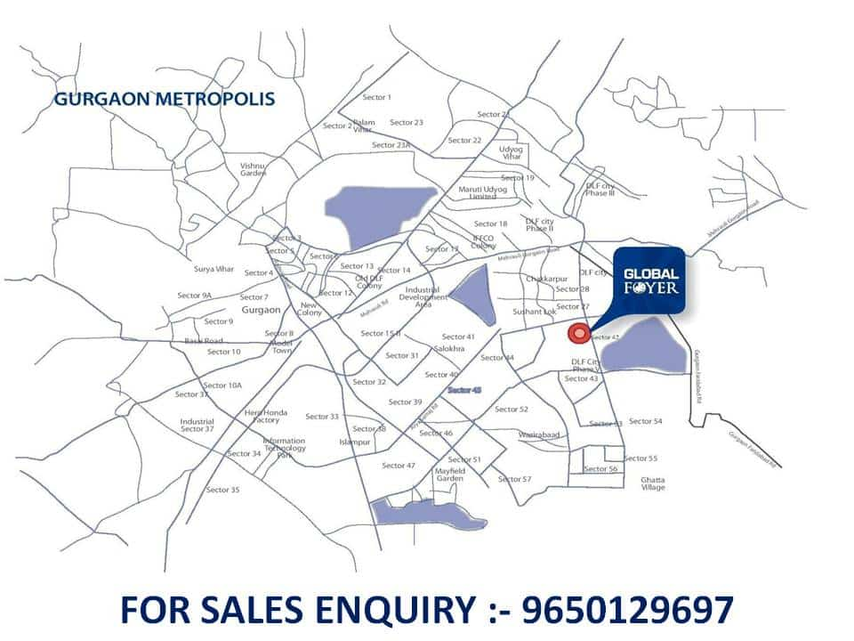9650129697 Location Map of Global Foyer Gurgaon